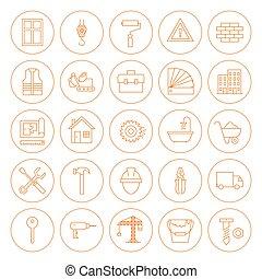 Edificio de círculos y iconos de construcción