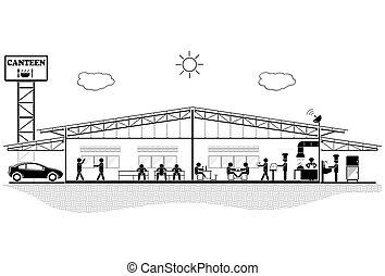 Edificio de cantina, sección de estructura para cantina, ilustración de vectores