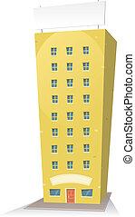 Edificio de cartón con letrero