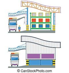 Edificio de fábrica, almacén de sección cruzada, ilustración de vectores