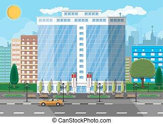 Edificio de oficina exterior. Edificio comercial