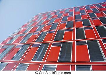 Edificio de oficinas modernas rojas 03
