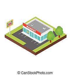 Edificio de supermercados isométricos