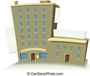 Edificio de tiendas de cartón con apartamentos y estandartes