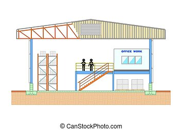Edificio del Almacén, sección de almacenamiento, vector de diseño estructural ilustración vectorial vectorial de ilustración