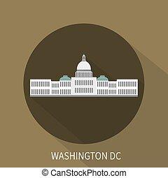 Edificio del Capitolio en Washington DC. Ícono Vector.