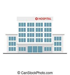 Edificio del hospital, icono médico.