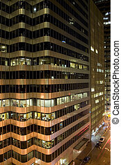 edificio, distrito financiero, detalle, noche, retrato