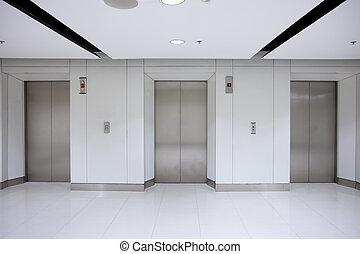 edificio, elevador, pasillo, puertas, oficina, tres