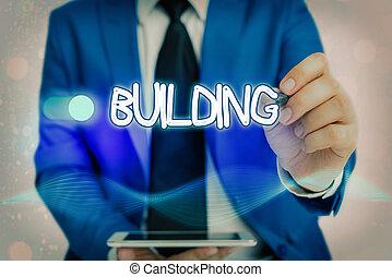 edificio., empresa / negocio, actuación, showcasing, structure., nota, o, arte, escritura, el montar, foto, materiales