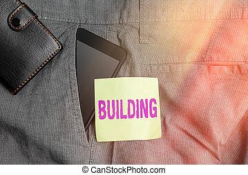 edificio., empresa / negocio, dentro, nota, dispositivo, paper., texto, palabra, o, frente, estructura, bolsillo, arte, pantalones, smartphone, materiales, el montar, escritura, billetera, concepto