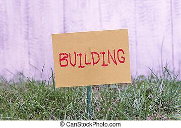 edificio., empresa / negocio, foto, herboso, land., note papel, colocado, showcasing, llanura, o, estructura, actuación, arte, unido, materiales, el montar, escritura, palo