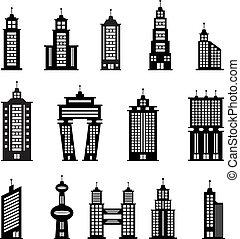 Edificio en blanco y negro set 2