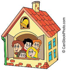 Edificio escolar con niños