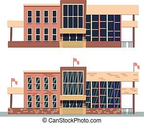 Edificio escolar sobre fondo blanco