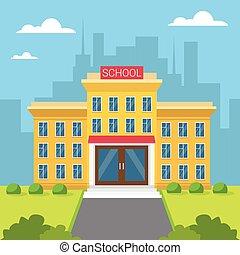 Edificio escolar vista exterior de la ciudad