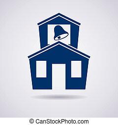 edificio, escuela, vector, icono