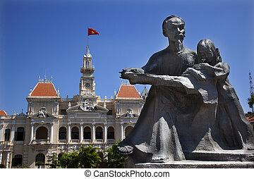 edificio, estatua, comité, saigon, vietnam, gente, minh, ho, chi