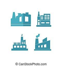 edificio, fábrica, industrial
