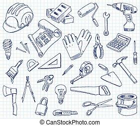edificio, freehand, materiales, dibujo