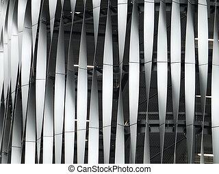 edificio, grande, decorativo, metálico, moderno, cubierta
