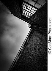 edificio grande, industrial, tiro del ángulo