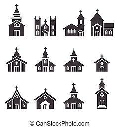 edificio, iglesia, icono