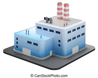 edificio, industrial, 3d, render, blanco