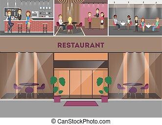 edificio, interior., restaurante, tabla, gente