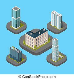 Edificio isométrico aislado