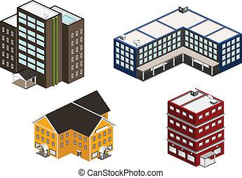 edificio, isométrico, conjunto