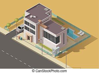 edificio, jardín de casa, icono, coche, casa, piscina