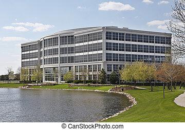 edificio, lago, oficina