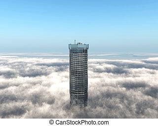 edificio, levantamiento, nubes, sobre, oficina