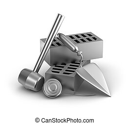 edificio, measur, cinta, martillo, tools:
