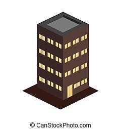 edificio moderno, apartamentos, 3d