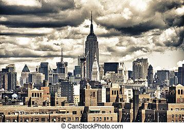 edificio, nyc, estado, contorno, imperio