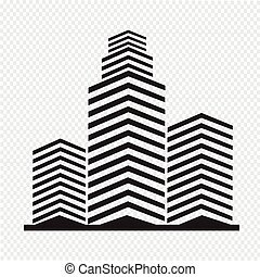 edificio, oficina, icono