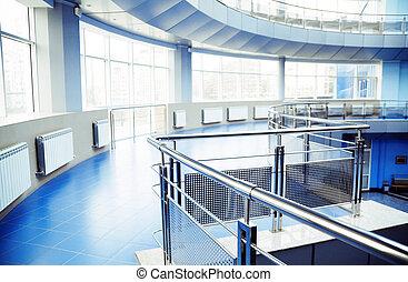 edificio, oficina, moderno, metal, detalles, interior