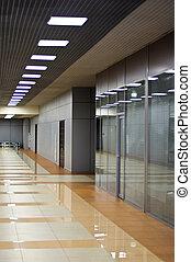 edificio, oficina, pared, puertas de vidrio, particiones