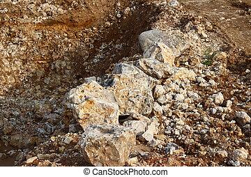 edificio, piedra caliza, cantera, cantos rodados, material, extracción, grande