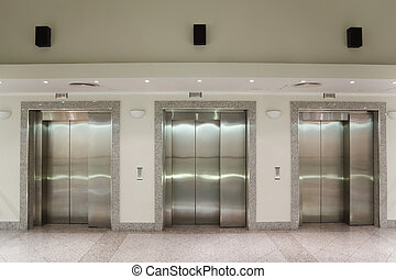 edificio, puertas, oficina, tres, elevador, pasillo