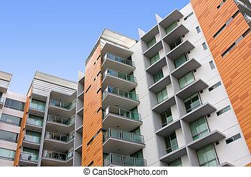 edificio, residencial, apartamento, moderno