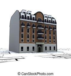 Edificio residencial encima de los planos de arquitectos 2