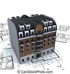 Edificio residencial encima de los planos de arquitectos