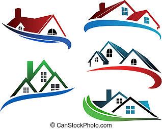 edificio, símbolos, techos, hogar