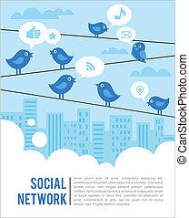 Edificio social con aves y iconos