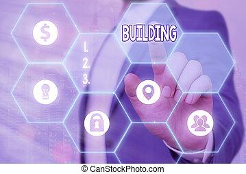 edificio., structure., materiales, showcasing, empresa / negocio, nota, actuación, escritura, arte, o, el montar, foto
