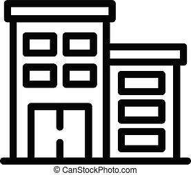 edificio, terapeuta, icono, contorno, estilo