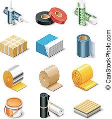 edificio, vector, productos, icons., p.2